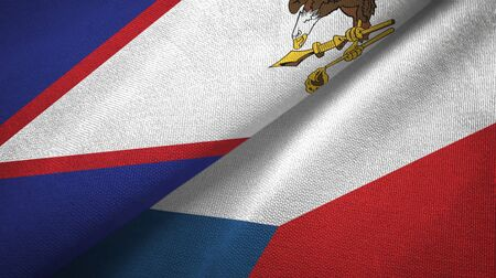 American Samoa and Czech Republic flags together textile cloth, fabric texture