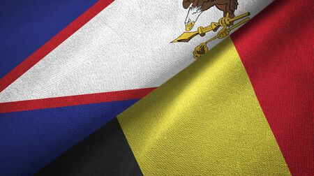 American Samoa and Belgium flags together textile cloth, fabric texture