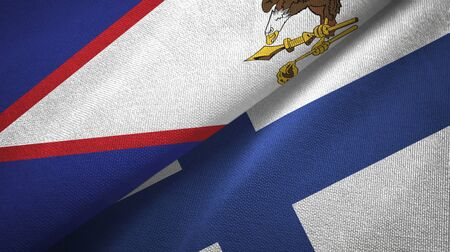 American Samoa and Finland flags together textile cloth, fabric texture
