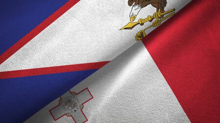 American Samoa and Malta flags together textile cloth, fabric texture