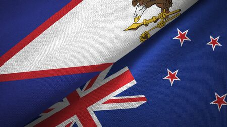 American Samoa and New Zealand flags together textile cloth, fabric texture Zdjęcie Seryjne
