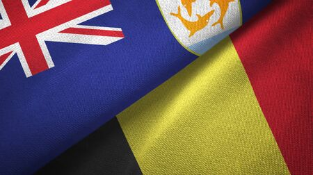 Anguilla and Belgium flags together textile cloth, fabric texture