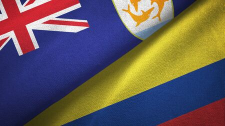 Anguilla and Colombia flags together textile cloth, fabric texture