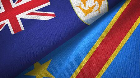 Anguilla and Congo Democratic Republic two folded flags together Standard-Bild - 134787938
