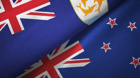 Anguilla and New Zealand flags together textile cloth, fabric texture
