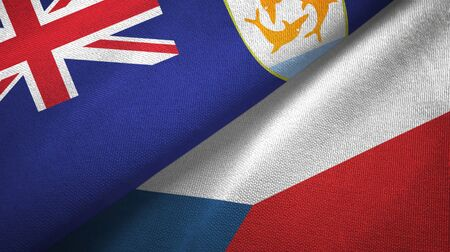 Anguilla and Czech Republic flags together textile cloth, fabric texture