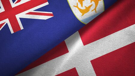 Anguilla and Denmark flags together textile cloth, fabric texture
