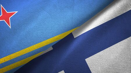 Aruba and Finland flags together textile cloth, fabric texture 写真素材