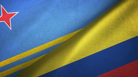 Aruba and Colombia flags together textile cloth, fabric texture