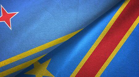 Aruba and Congo Democratic Republic two folded flags together Standard-Bild - 134786436