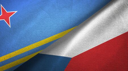 Aruba and Czech Republic flags together textile cloth, fabric texture