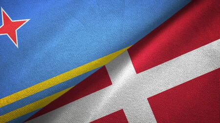 Aruba and Denmark flags together textile cloth, fabric texture