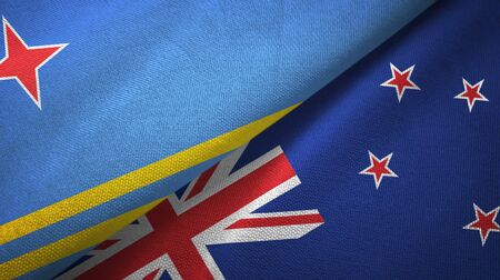 Aruba and New Zealand flags together textile cloth, fabric texture