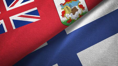 Bermuda and Finland flags together textile cloth, fabric texture