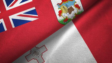 Bermuda and Malta flags together textile cloth, fabric texture