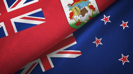 Bermuda and New Zealand flags together textile cloth, fabric texture