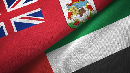 Bermuda and United Arab Emirates flags together textile cloth, fabric texture