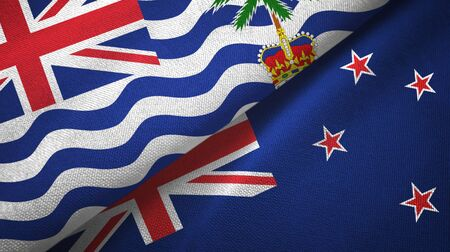 British Indian Territory and New Zealand flags together textile cloth
