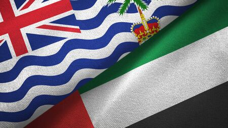 British Indian Territory and United Arab Emirates flags together textile cloth