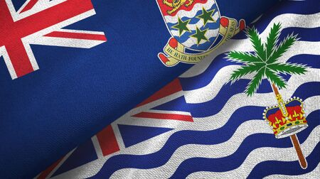 Cayman Islands and British Indian Territory two folded flags together