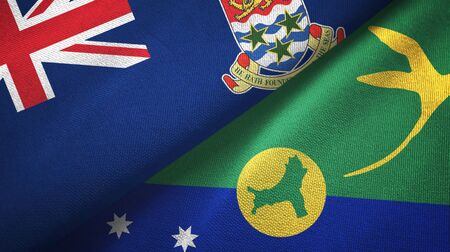 Cayman Islands and Christmas Island two folded flags together