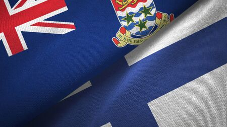 Cayman Islands and Finland flags together textile cloth, fabric texture 写真素材