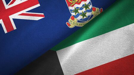 Cayman Islands and Kuwait flags together textile cloth, fabric texture