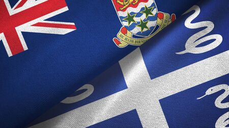 Cayman Islands and Martinique snake two folded flags together