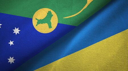 Christmas Island and Ukraine flags together textile cloth, fabric texture