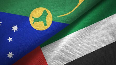 Christmas Island and United Arab Emirates flags together textile cloth, fabric texture