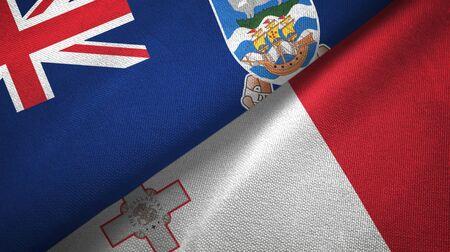 Falkland Islands and Malta flags together textile cloth, fabric texture