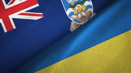 Falkland Islands and Ukraine flags together textile cloth, fabric texture