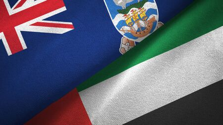 Falkland Islands and United Arab Emirates flags together textile cloth, fabric texture