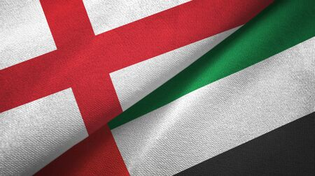 England and United Arab Emirates flags together textile cloth, fabric texture