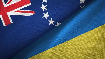 Cook Islands and Ukraine flags together textile cloth, fabric texture