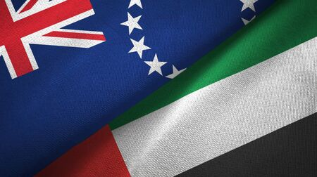 Cook Islands and United Arab Emirates flags together textile cloth, fabric texture Banco de Imagens