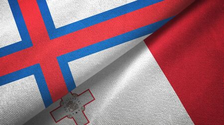 Faroe Islands and Malta flags together textile cloth, fabric texture 스톡 콘텐츠