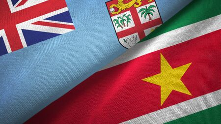 Fiji and Suriname two folded flags together