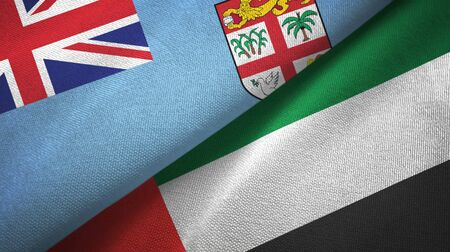 Fiji and United Arab Emirates flags together textile cloth, fabric texture