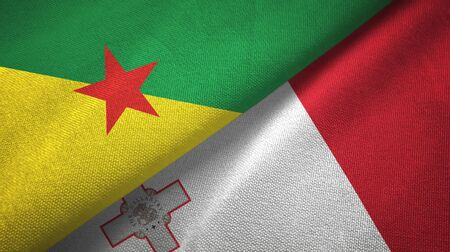 French Guiana and Malta flags together textile cloth, fabric texture 스톡 콘텐츠