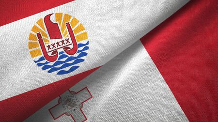 French Polynesia and Malta flags together textile cloth, fabric texture