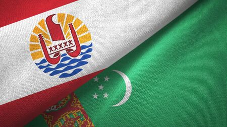 French Polynesia and Turkmenistan flags together textile cloth, fabric texture Stock Photo