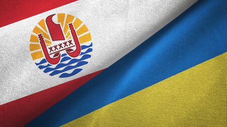 French Polynesia and Ukraine flags together textile cloth, fabric texture Banco de Imagens