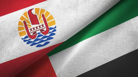 French Polynesia and United Arab Emirates flags together textile cloth, fabric texture