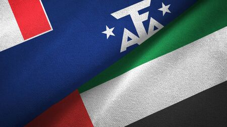 French Southern and Antarctic Lands and United Arab Emirates flags together