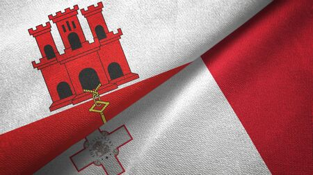 Gibraltar and Malta flags together textile cloth, fabric texture