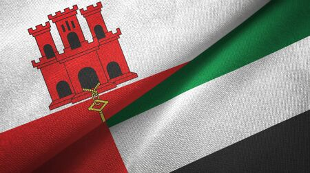 Gibraltar and United Arab Emirates flags together textile cloth, fabric texture