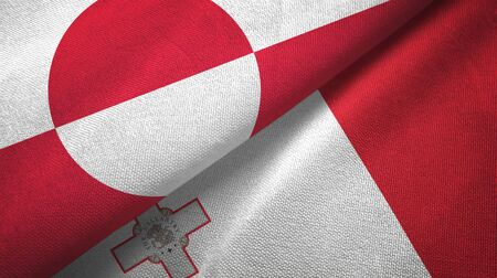 Greenland and Malta flags together textile cloth, fabric texture