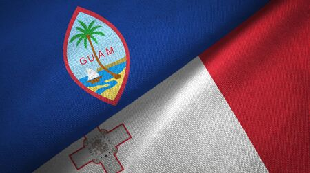 Guam and Malta flags together textile cloth, fabric texture 스톡 콘텐츠