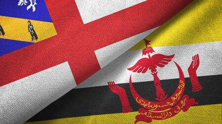 Herm and Brunei Darussalam flags together textile cloth, fabric texture. Text on brunei flag means - Always in service with God's guidance